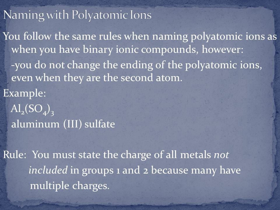 Naming with Polyatomic Ions
