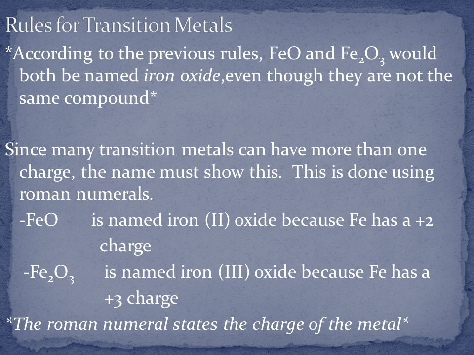 Rules for Transition Metals