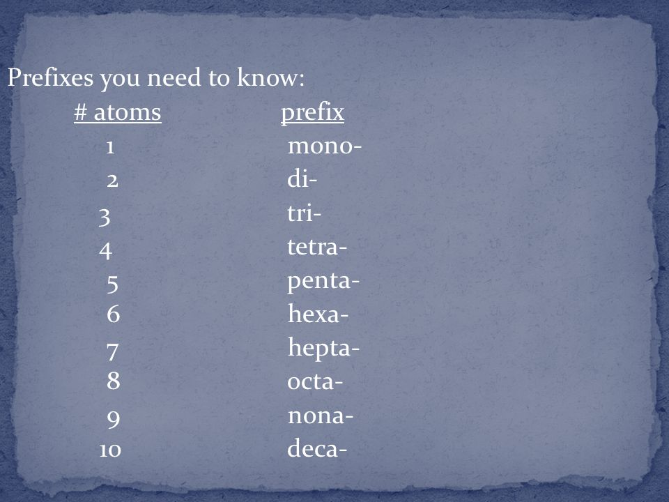 Prefixes you need to know: # atoms prefix 1 mono- 2 di- 3 tri- 4 tetra- 5 penta- 6 hexa- 7 hepta- 8 octa- 9 nona- 10 deca-