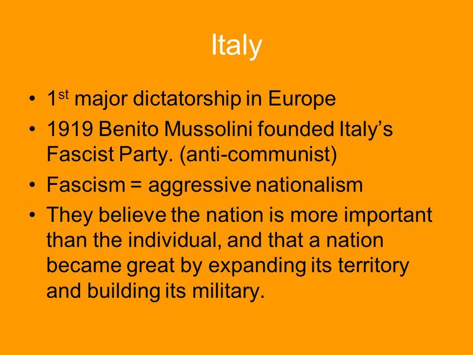 Italy 1st major dictatorship in Europe