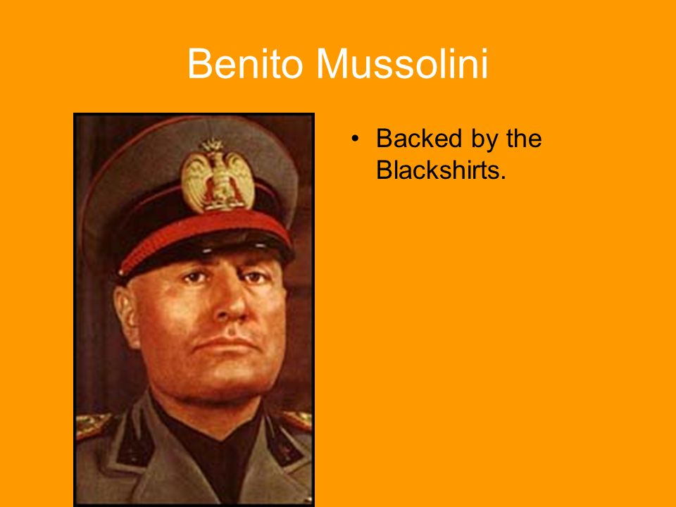 Benito Mussolini Backed by the Blackshirts.