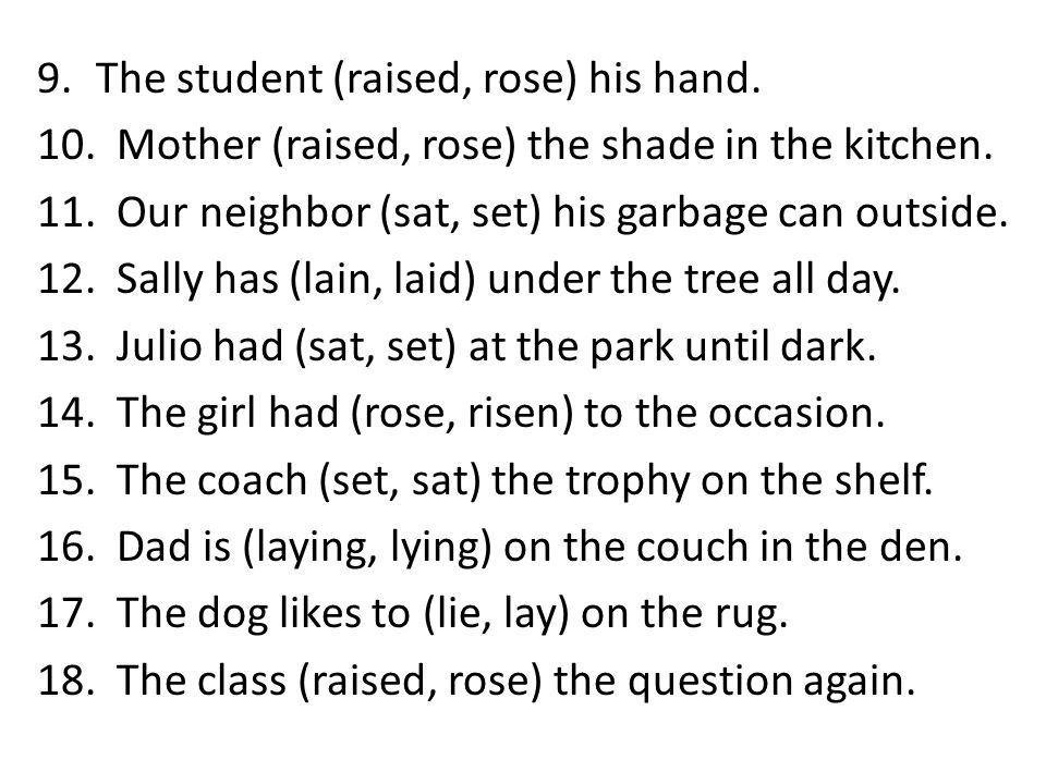 The student (raised, rose) his hand.