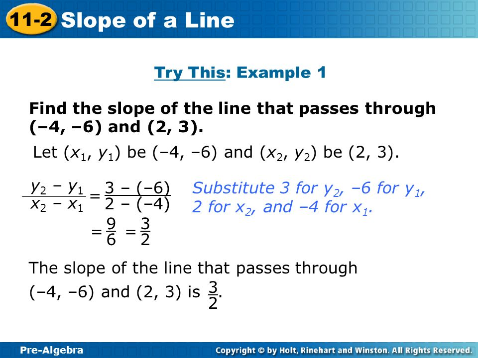 Try This: Example 1 Find the slope of the line that passes through (–4, –6) and (2, 3). Let (x1, y1) be (–4, –6) and (x2, y2) be (2, 3).