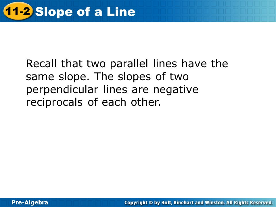 Recall that two parallel lines have the same slope