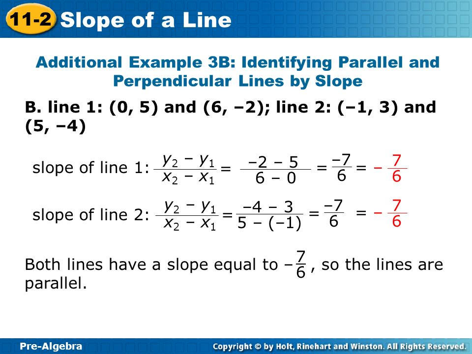 Additional Example 3B: Identifying Parallel and Perpendicular Lines by Slope