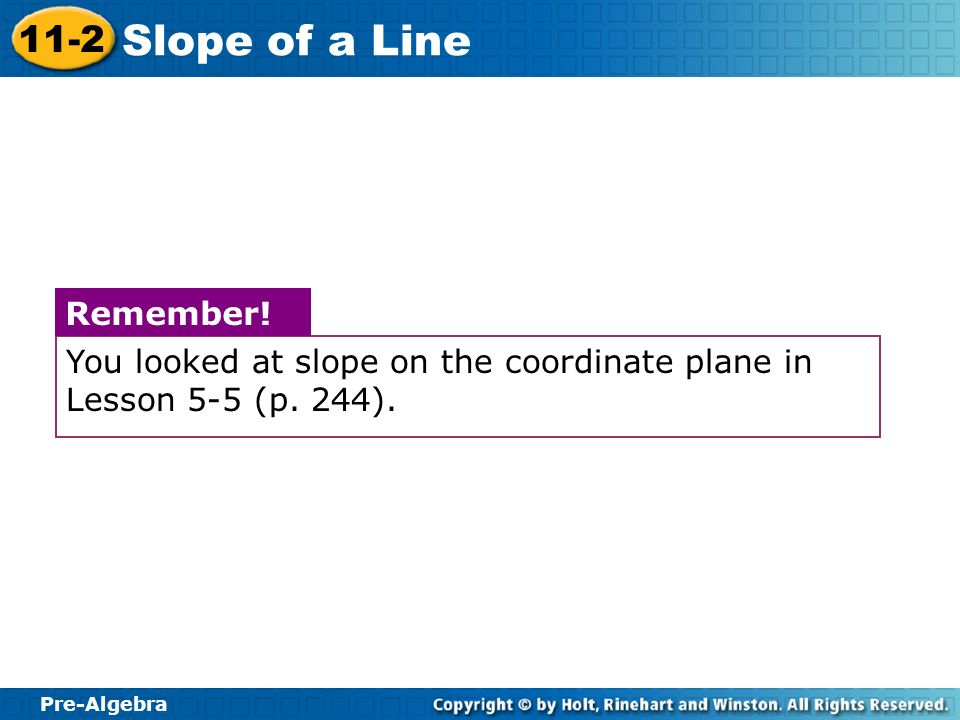 You looked at slope on the coordinate plane in Lesson 5-5 (p. 244).