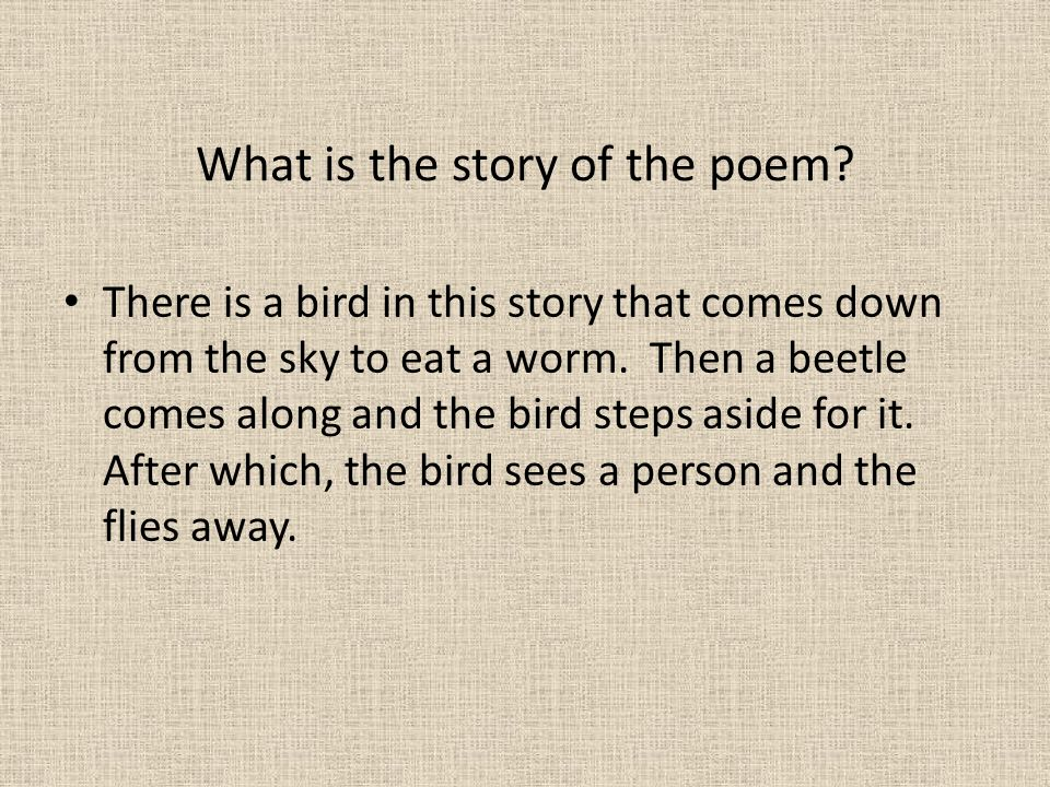 What is the story of the poem