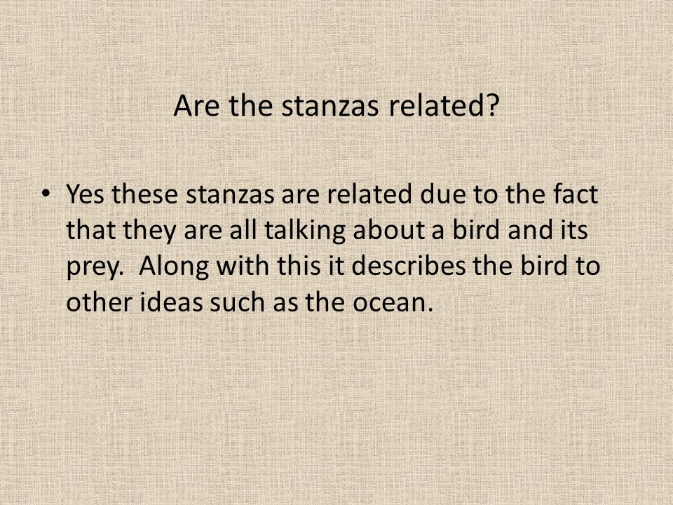 Are the stanzas related
