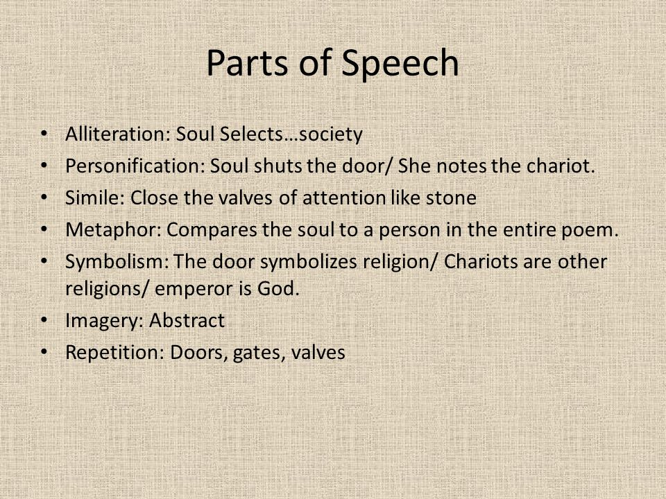 Parts of Speech Alliteration: Soul Selects…society