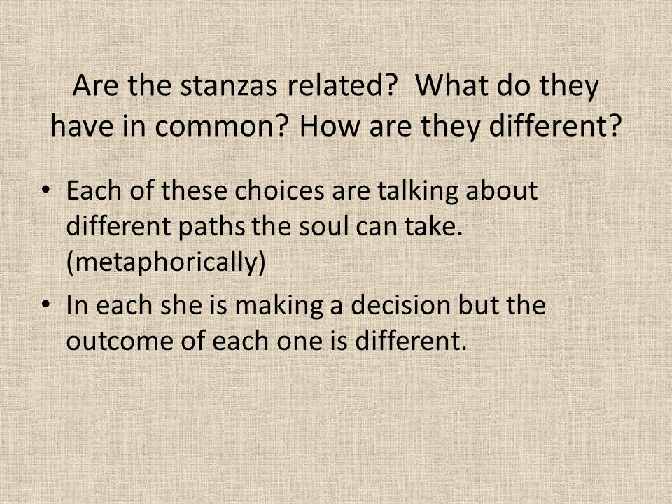 Are the stanzas related. What do they have in common