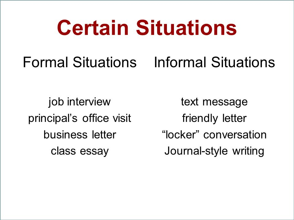 Certain Situations Formal Situations Informal Situations job interview