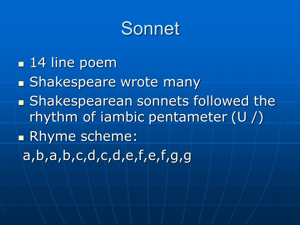 Sonnet 14 line poem Shakespeare wrote many