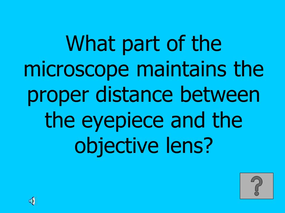 What part of the microscope maintains the proper distance between the eyepiece and the objective lens