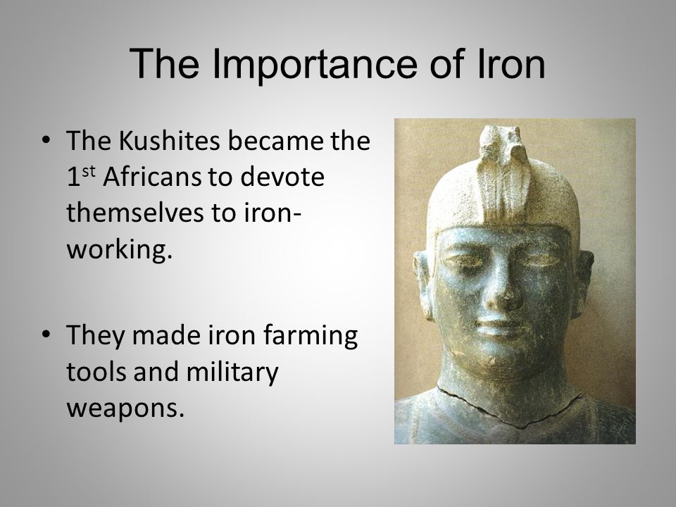 The Importance of Iron The Kushites became the 1st Africans to devote themselves to iron-working.