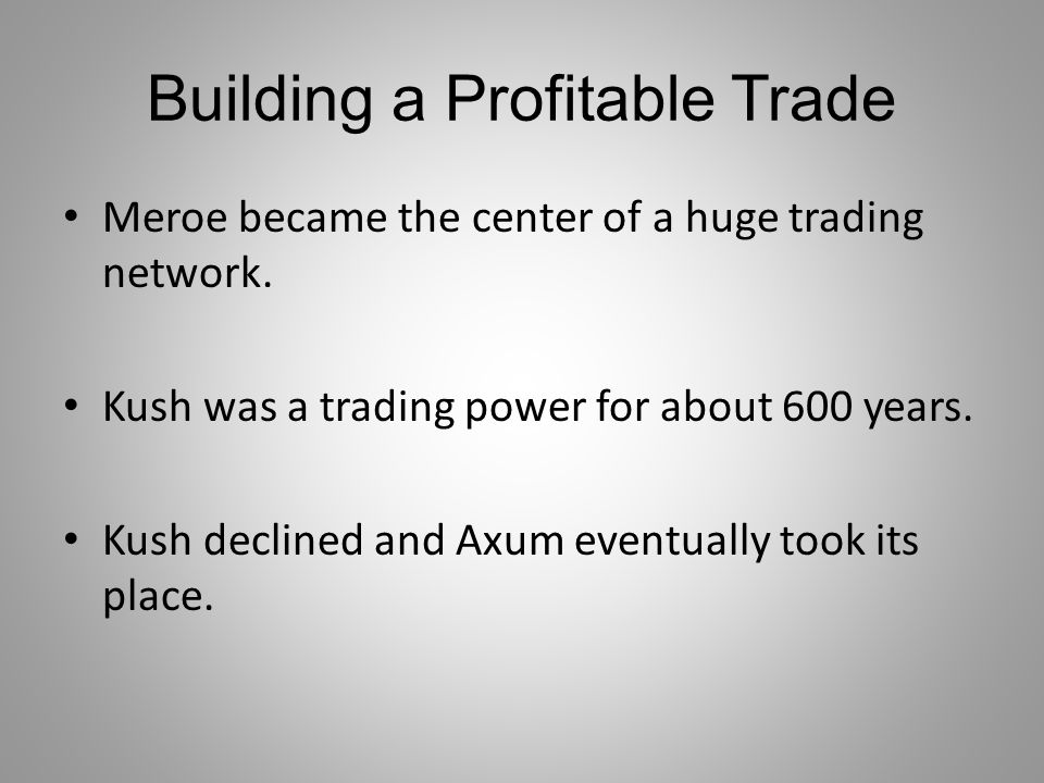 Building a Profitable Trade
