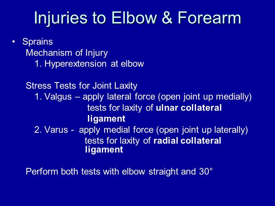 Injuries to Elbow & Forearm