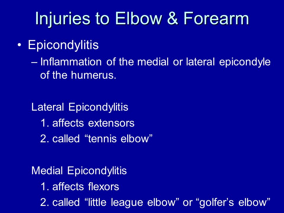 Injuries to Elbow & Forearm