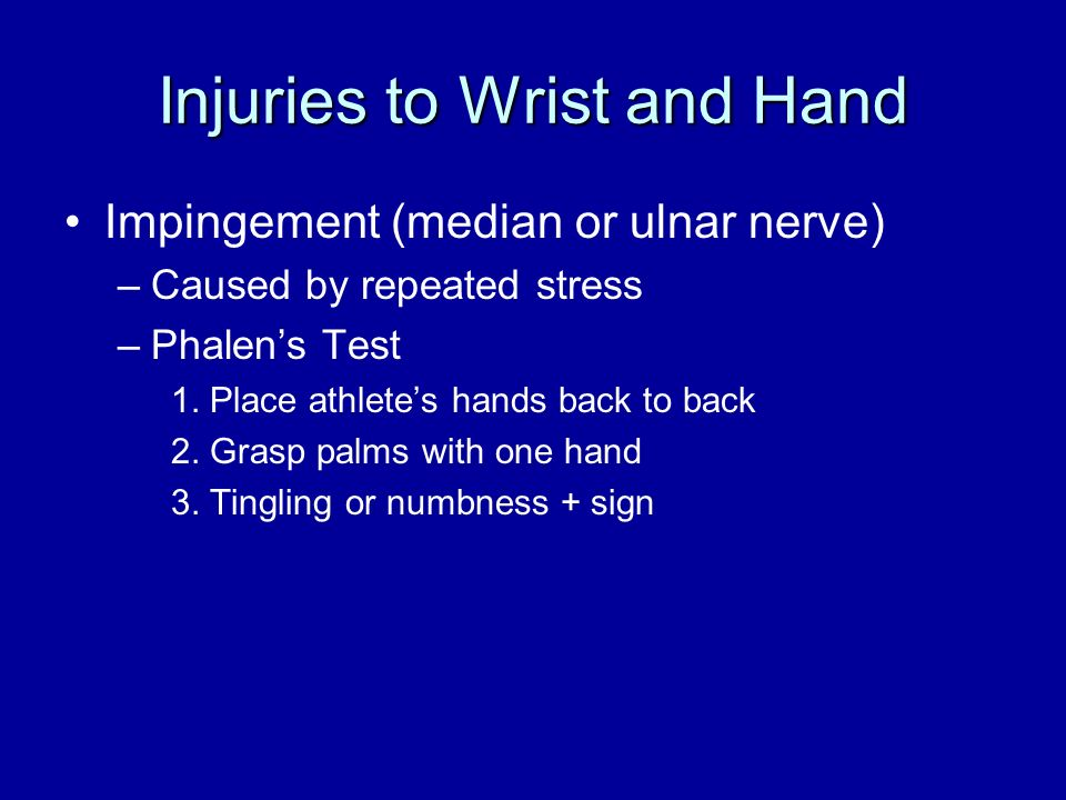 Injuries to Wrist and Hand