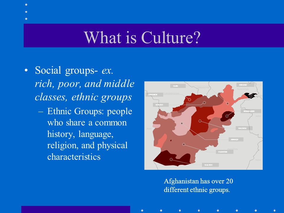 What is Culture Social groups- ex. rich, poor, and middle classes, ethnic groups.