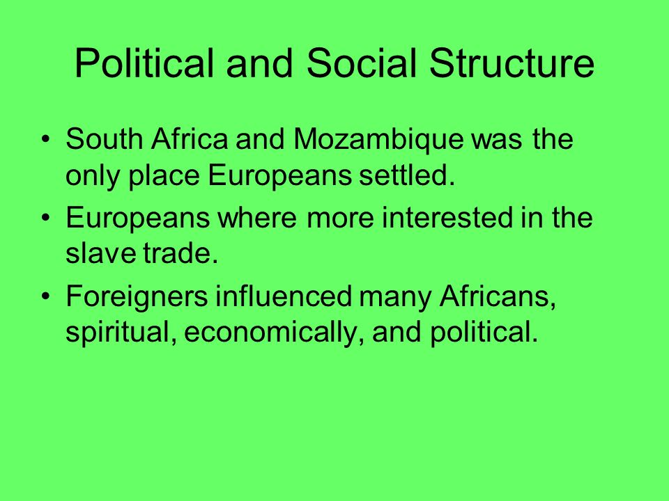 Political and Social Structure