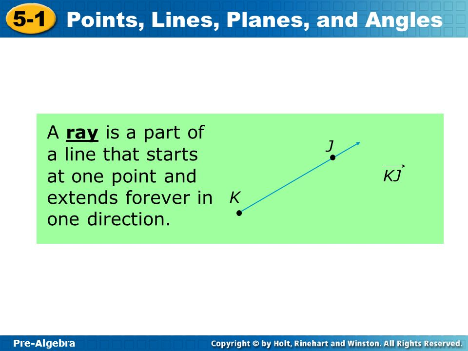A ray is a part of a line that starts at one point and extends forever in one direction.