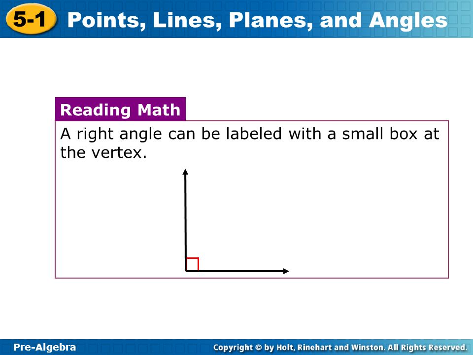 A right angle can be labeled with a small box at the vertex.