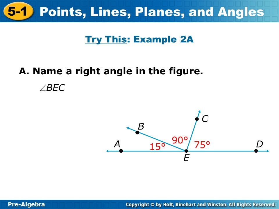 Try This: Example 2A A. Name a right angle in the figure. BEC E D C B A 90° 75° 15°