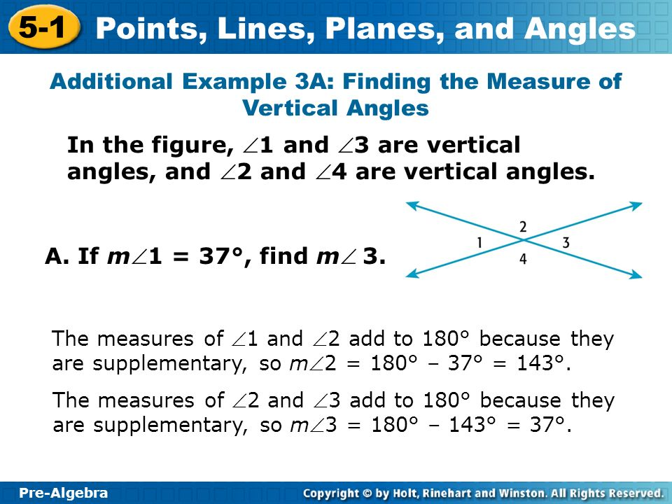 Additional Example 3A: Finding the Measure of Vertical Angles
