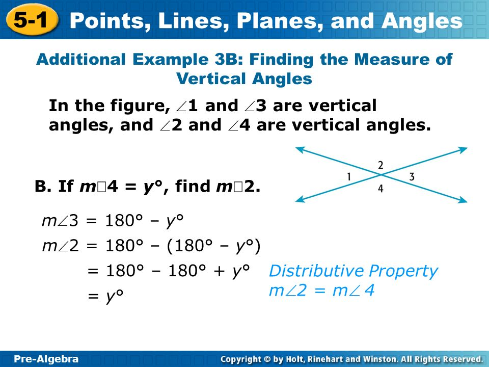 Additional Example 3B: Finding the Measure of Vertical Angles