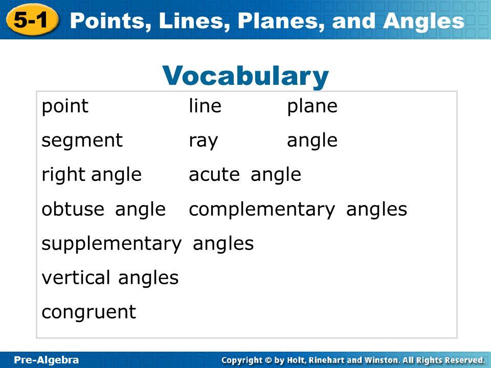 Vocabulary point line plane segment ray angle rightiangle acuteiiangle