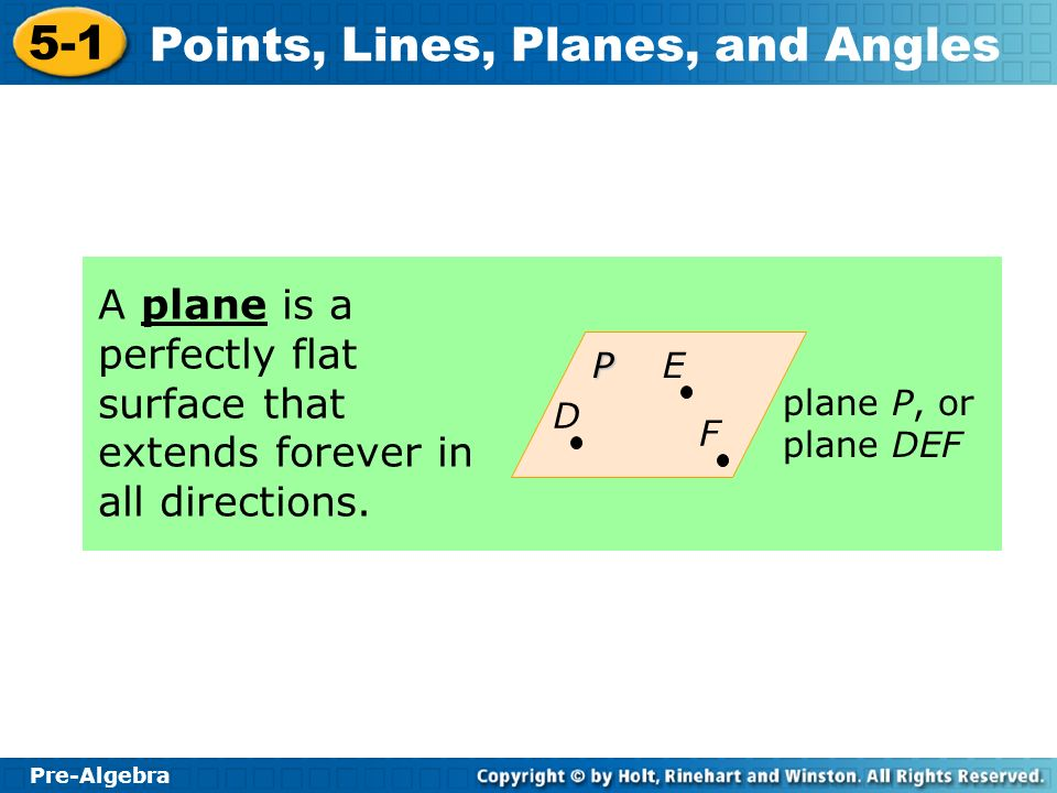 A plane is a perfectly flat surface that extends forever in all directions.