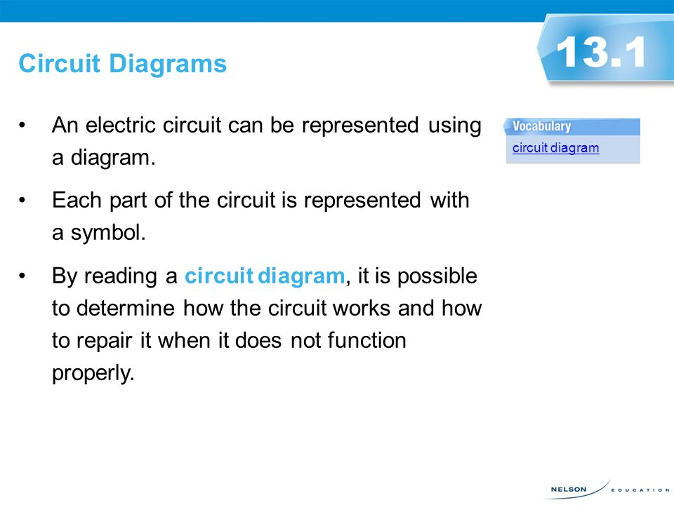 Circuit Diagrams 13.1 An electric circuit can be represented using a ...