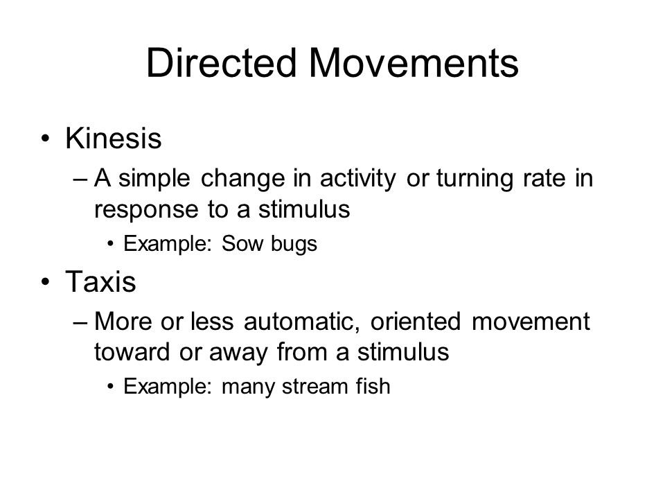 Directed Movements Kinesis Taxis