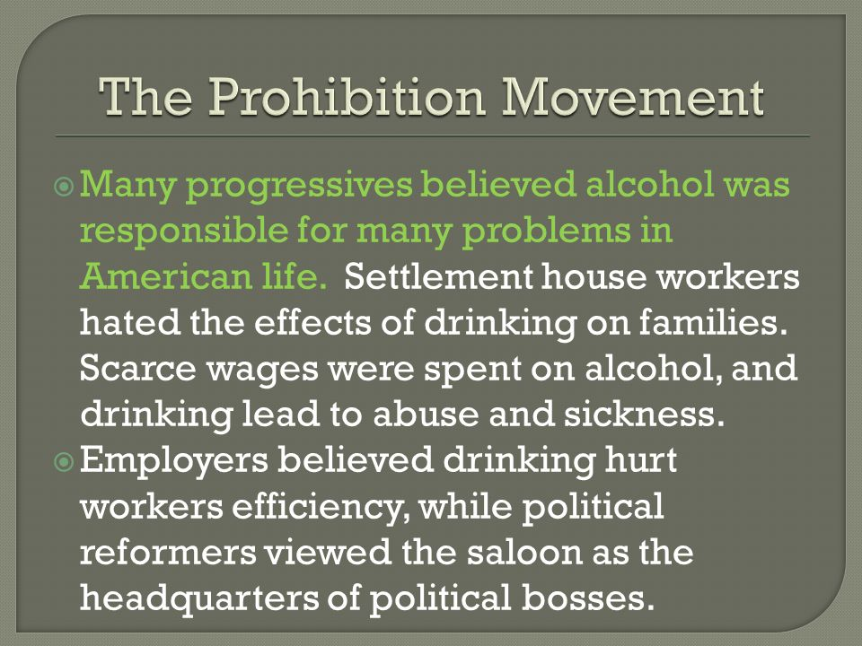 The Prohibition Movement