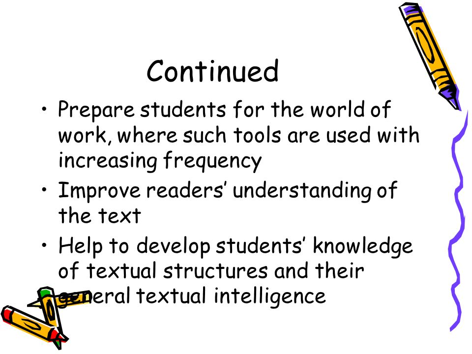 Continued Prepare students for the world of work, where such tools are used with increasing frequency.