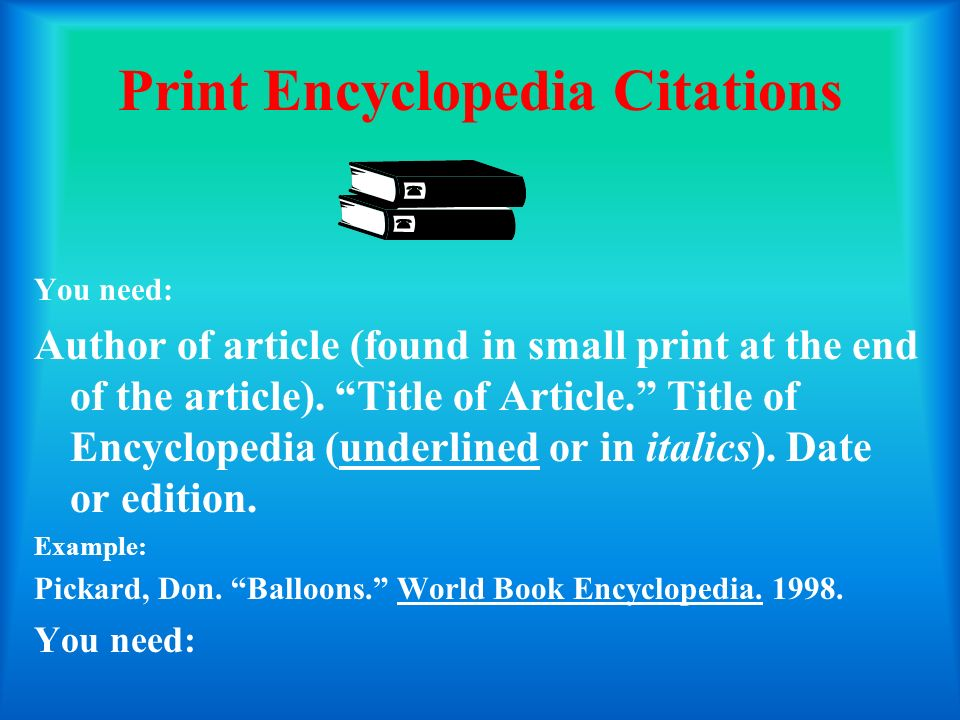 Print Encyclopedia Citations