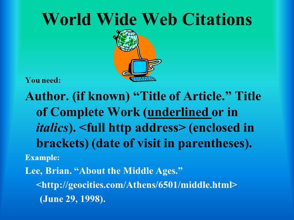 World Wide Web Citations