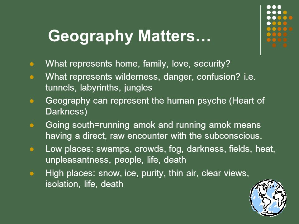 Geography Matters… What represents home, family, love, security