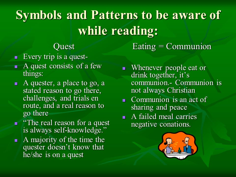 Symbols and Patterns to be aware of while reading: