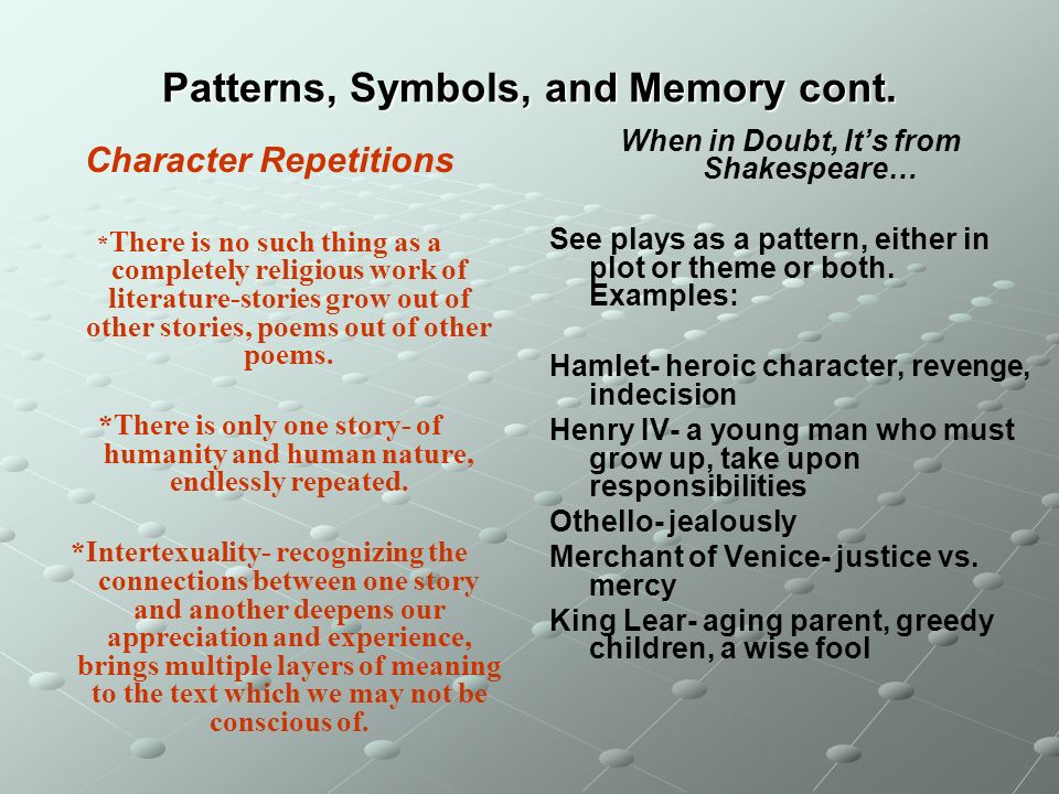 Patterns, Symbols, and Memory cont.
