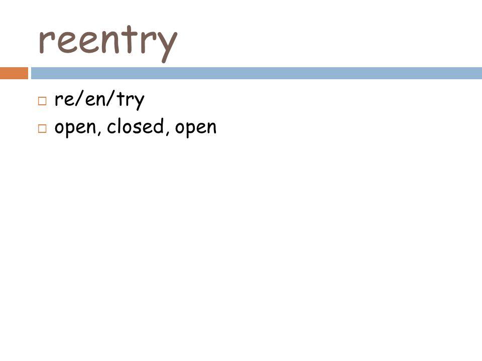 reentry re/en/try open, closed, open
