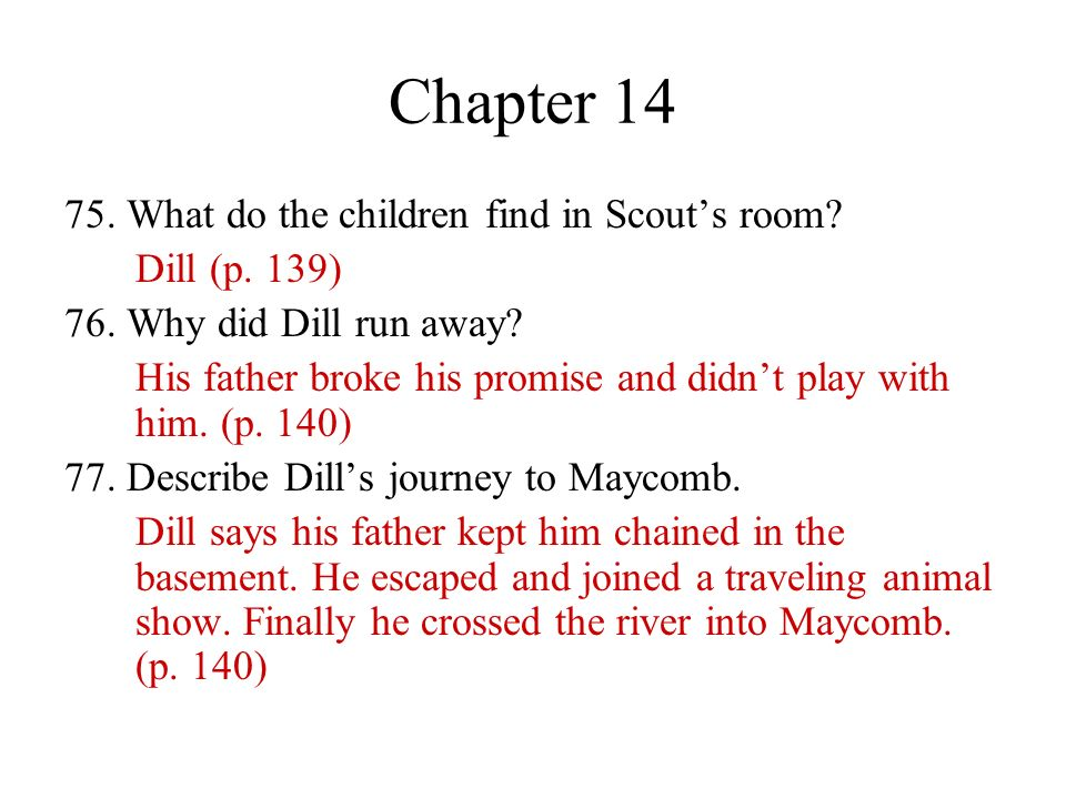 Chapter 14 75. What do the children find in Scout's room