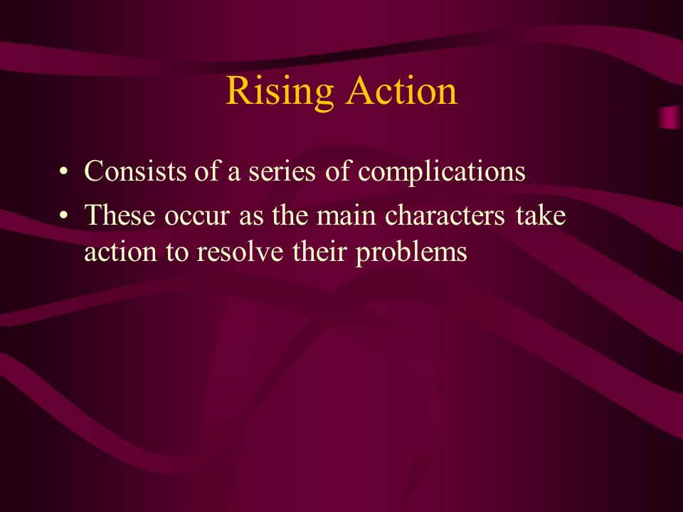 Rising Action Consists of a series of complications