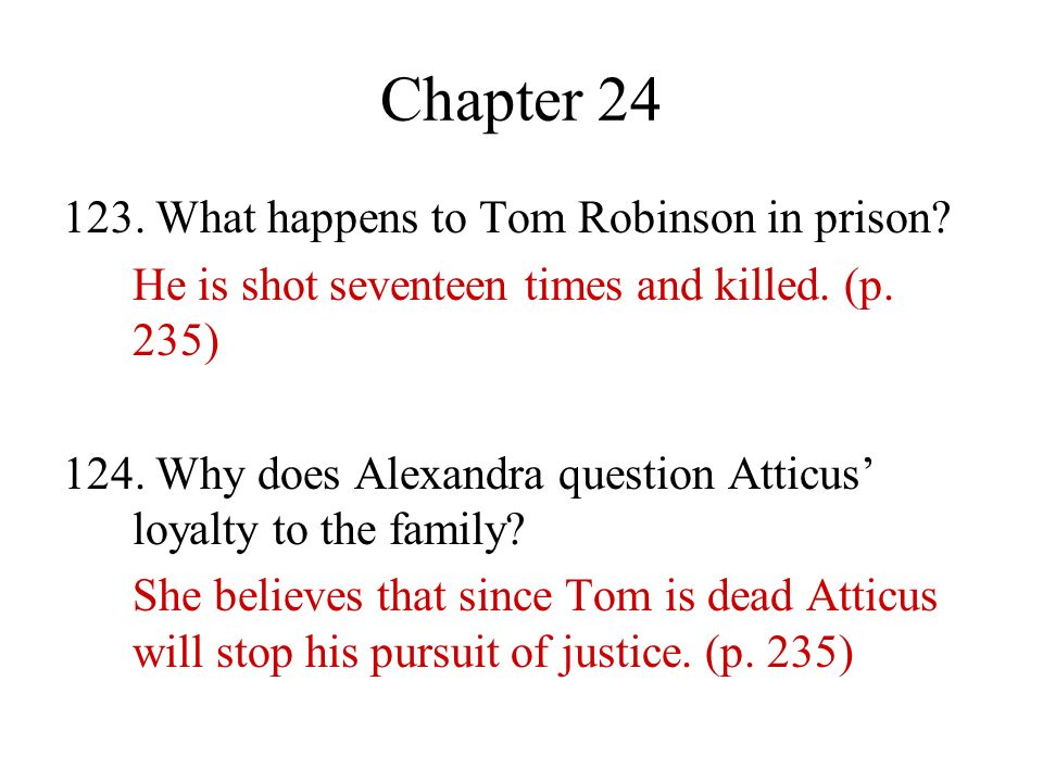 Chapter 24 123. What happens to Tom Robinson in prison