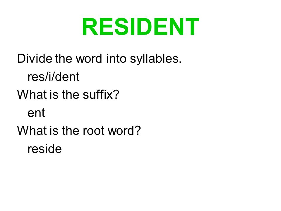 RESIDENT Divide the word into syllables. res/i/dent