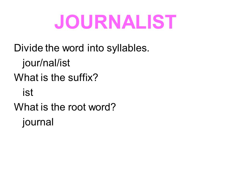 JOURNALIST Divide the word into syllables. jour/nal/ist