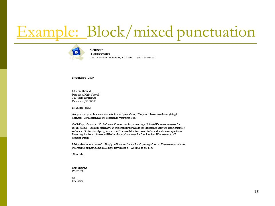 Example: Block/mixed punctuation