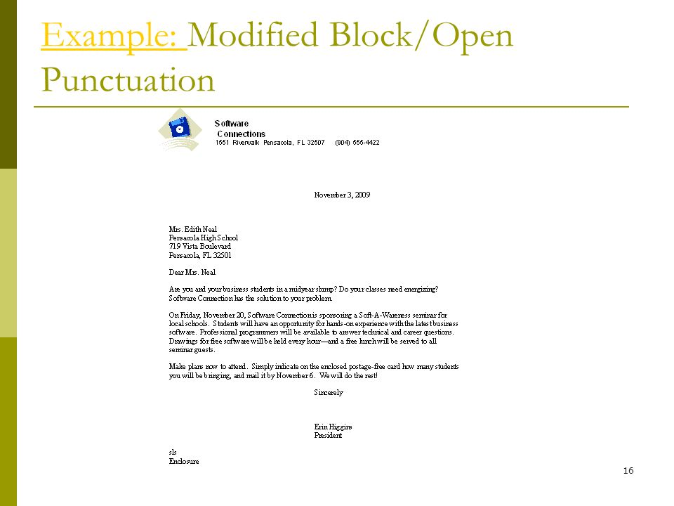 Example: Modified Block/Open Punctuation
