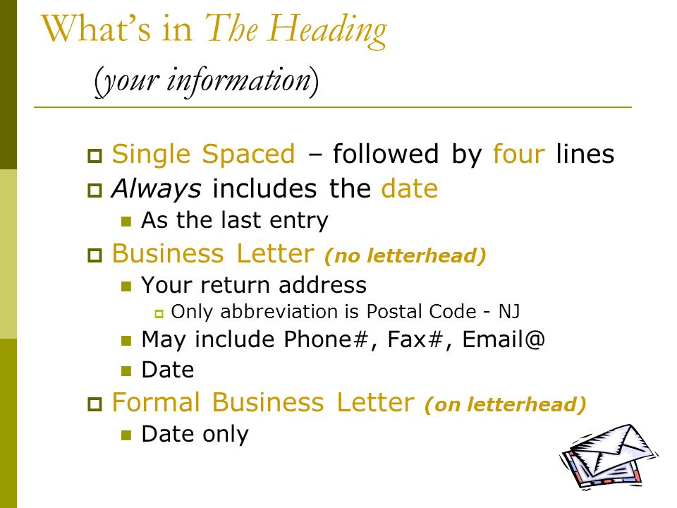 What's in The Heading (your information)