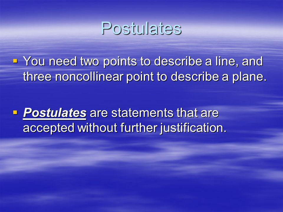 Postulates You need two points to describe a line, and three noncollinear point to describe a plane.